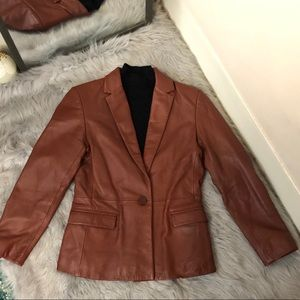 Alfani Petite Brown Genuine Leather Blazer Jacket
